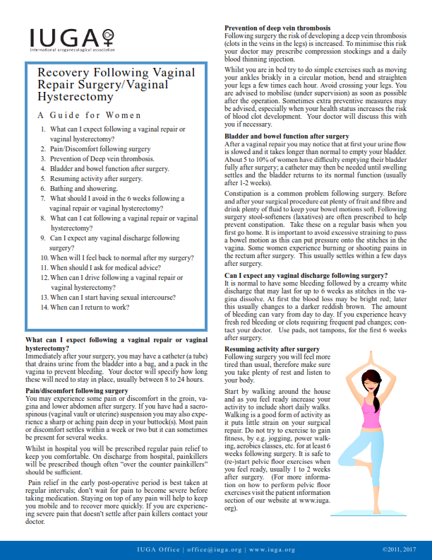 Recovery Guide Following Vaginal Repair Surgery/Vaginal Hysterectomy