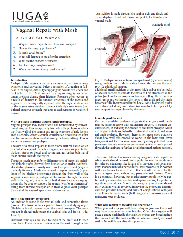 Vaginal Repair with Mesh